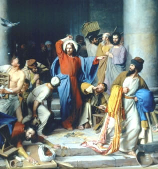 Jesus driving out the money changers
